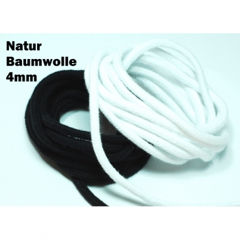 Cord natural cotton diameter 4mm colors black white by the meter