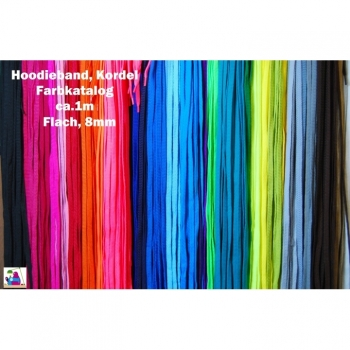 Cord, Cord, Hoodieband Length 1m Width 8 mm 30 colors on offer. Suitable for hoodies, sneackers, pants, skirts, bags, pouches and more