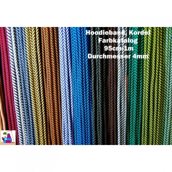 Cord, hoodie ribbon, cord, laces around 4mm 12 colors on offer, striped. For shoes, hoodies, jackets, gym bags, bags, DIY projects