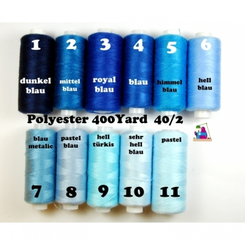 Sewing thread Polyester 400 Yard 40/2 11 colors from dark blue to light blue.