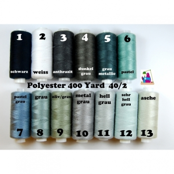Sewing thread Polyester 400 Yard 40/2 13 colors from black to light gray.
