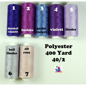 Sewing thread polyester 400 Yard 40/2 7 colors from violet to old rose