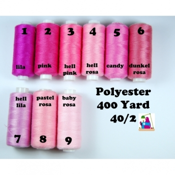 Sewing thread polyester 400 Yard 40/2 9 colors from pink to baby pink