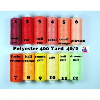 Sewing thread Polyester 400 Yard 40/2 12 colors from red to pale yellow