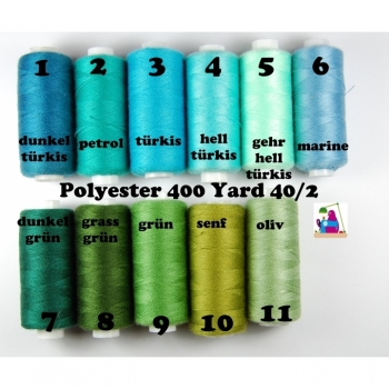 Sewing thread polyester 400 Yard 40/2 13 colors from turquoise to mustard