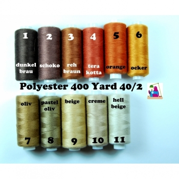 Sewing thread Polyester 400 Yard 40/2 10 colors from dark brown to cream