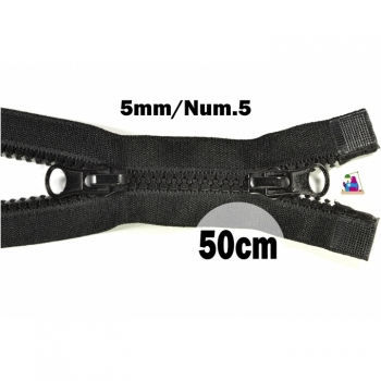 2 way zipper divisible length 50cm plastic tooth width 5mm color black for winter jackets, vests, coat