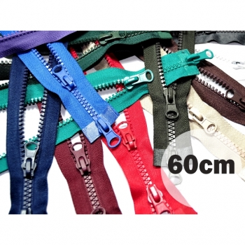 2 way zipper divisible length 60cm plastic tooth width 5mm color black for winter jackets, vests, coat