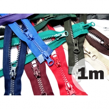 2 way zipper divisible length 1m plastic tooth width 5mm 12 colors on sale for winter jackets, vests, coat