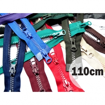 2 way zipper divisible length 110cm plastic tooth width 5mm 3 colors on sale for winter jackets, vests, coat