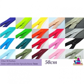 Zipper seam concealed not divisible Length 50 cm Track 3mm over 40 colors on offer