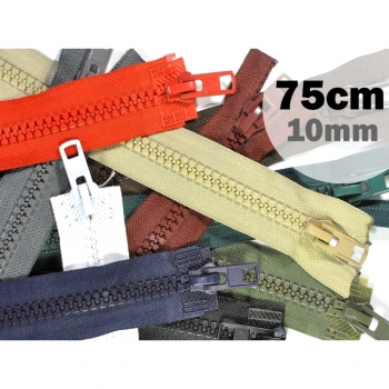 2 way zipper divisible, length 75 cm, coarse synthetic teeth 10mm, Num.10, 11 basic colors on offer for jackets, vests, coat, bags, footmuffs, etc