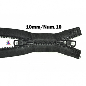 2 way zipper divisible, length 95 cm, coarse plastic teeth 10mm, Num.10, 11 color black for jackets, vests, coat, bags, footmuffs, etc