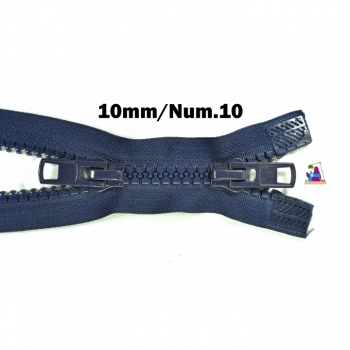 2 way zipper divisible, length 90 cm, coarse plastic teeth 10mm, Num.10, 11 color blue for jackets, vests, coat, bags, footmuffs, etc