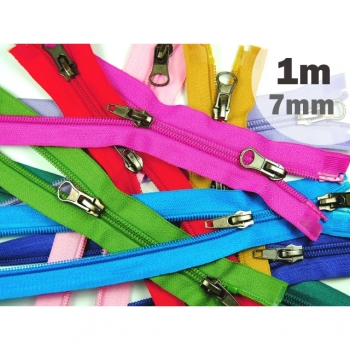 2 way zipper divisible, length 1m, spiral track 7mm, Num.7, over 15 colors on offer for jackets, vests, coat, bags, footmuffs, etc