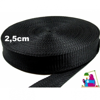 Webbing width 2.5 cm, color black, by the meter for bags, backpacks, belts ...