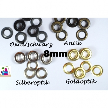 1 pieces eyelets 8mm 2 pieces in black, silver, gold antique for cord, strings, hoodie straps