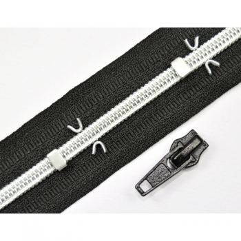 1m metalized zipper by the meter spiral Num.5black silver + 2 zipper, 4flames, 2 stoppers