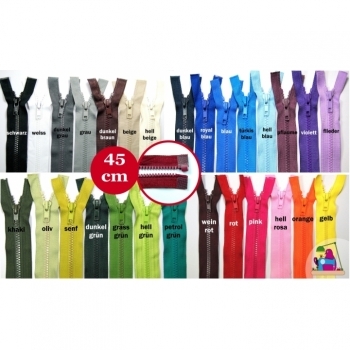 Jackets zipper divisible 45cm plastic tooth 5mm, Num.5 25 colors on offer