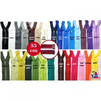 Jackets zipper divisible 55cm plastic tooth 5mm, Num.5 25 colors on offer