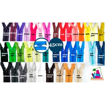 Jackets zipper divisible length 45cm spiral 5mm Num.5 over 30 colors on offer for softshell jackets, coat, parkas, vests
