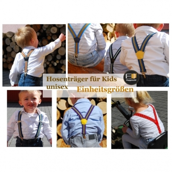 Children's suspenders Y shape, multicolored striped for girls and boys, one size fits all 0 to 7 years