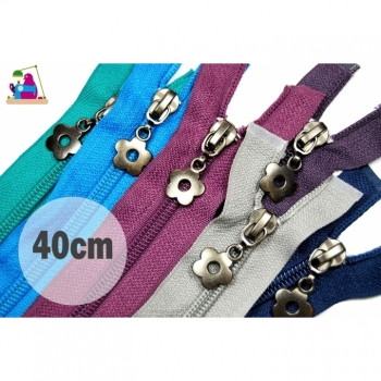 Zipper divisible Length 40 cm Spiral Num.5, 5 mm with Motif Zipper Flower Type2 Oxide dark 25 colors on offer
