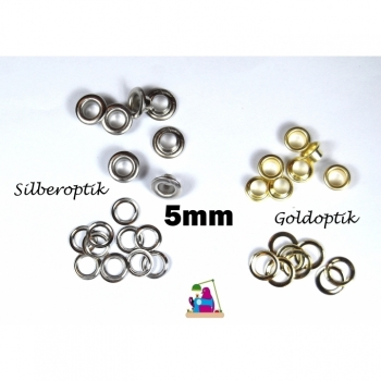 10 pcs eyelets with discs 5mm, 2-piece silver or gold look
