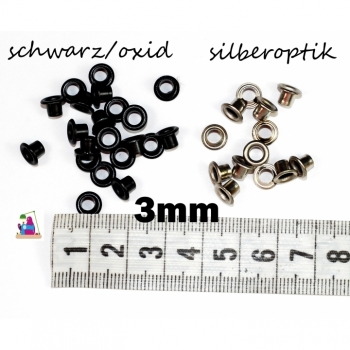 1 pcs. Eyelets without discs 3mm, 1 piece black oxiedirt or silver look