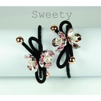 "Hair tie hair ornament hair flower ""Sweety"" black rosésilver hair tie"