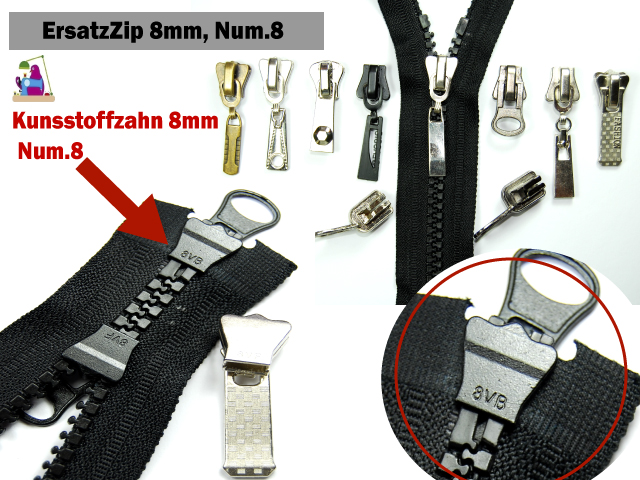 Zipper Accessoires Zipper 8mm Num 8 1 St Zipper Schieber