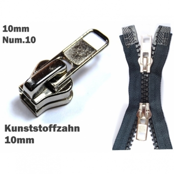 1 pc Zipper slider for zipper with plastic tooth 10mm, Num10 nickel bright for repair or exchange