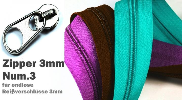 5e043259f4bb5 1St. Ersatz Zipper, Zipper, Schieber für Reißverschlüsse mit  Spirallaufschiene 3mm Num.3 reparieren, austauschen neue kreative DIY  Nähprojekte