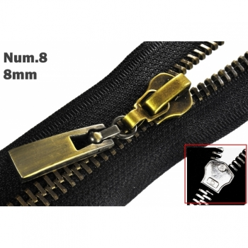 1pc Zipper for metal zipper 8mm Num.8 typ 2 exchange or repair antik