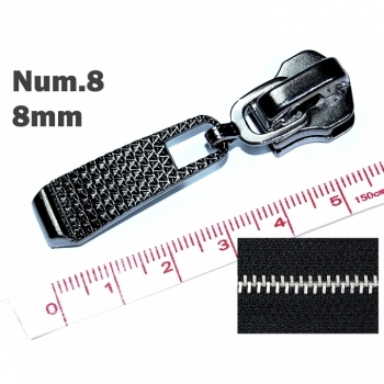 1pc Zipper for metal zipper 8mm Num.8 typ 1 exchange or repair oxid