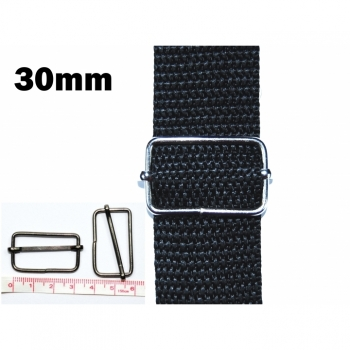 Adjustable metal frame for strap or rubber band 30 mm nickel (light) or oxidized