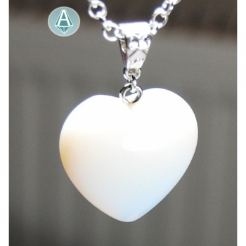Necklace Chain Pendant Gemstone Moonstone Heart Length 35cm