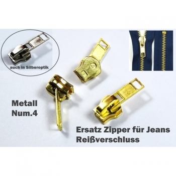 Replacement zipper for jeans zip metal Num.4 in silver or gold look