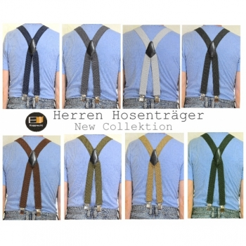 Men's Handmade Suspenders 40mm length ca.110cm X-shape different colors on offer