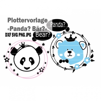 "Plottervorlage Plotterdatei ""Panda Bear"" Sofortdownload DXF SVG PNG JPG"