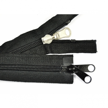 2 ways divisible revisible zipper length 120cm, spiral track 7mm Num.7 black Metalzip