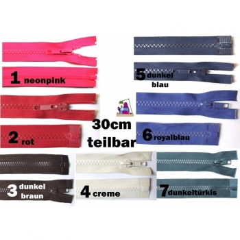 Jackets zipper divisible 30cm plastic tooth 5mm, Num 5 6 colors on offer