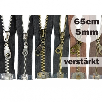 Zipper metal tooth 5mm, Num.5 length 65cm divisible, reinforced black brown brass nickel