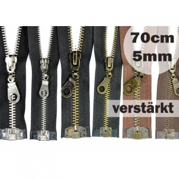Zipper metal tooth 5mm, Num.5 length 70cm divisible, reinforced black brown brass nickel
