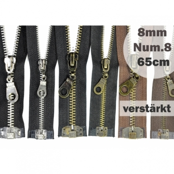 Metal zipper 8mm, Num.8 Length 65cm divisible, reinforced black brown
