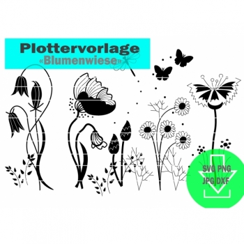 "Plotter file Plotter motif ""Flower meadow"" Instant download SVG PNG JPG DXF"
