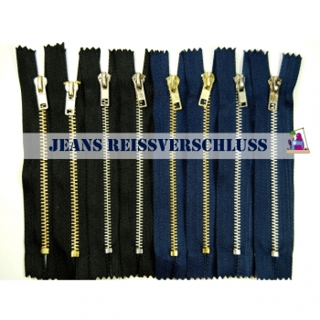 Metal zipper 18 cm / 4 mm indivisible Jeans zipper blue black in gold or silver look