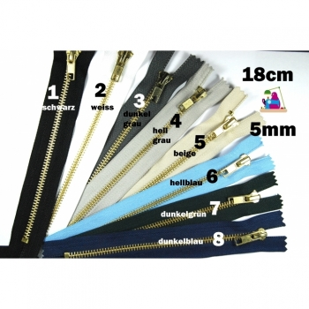 1 pc metal zipper 18cm / 5mm indivisible Jeans zipper blue black in gold or silver look short indivisible zipper