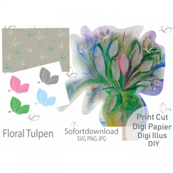 Digi Stamps Digiillus Floral Tulpen PNG JPG SVG Sofortdownload DIY