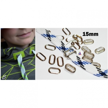 1st. Eyelets 15mm 2-piece with washers Eyelets Oval eyelets silver optic oval flat for cord in hoodie Hooded pants
